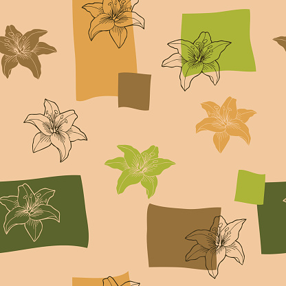 Lily flowers graphic green beige brown color seamless pattern vector
