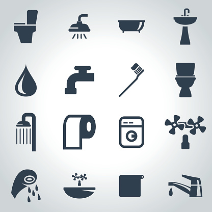 Vector black bathroom icon set