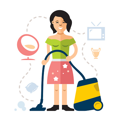 Vector Young woman cleaning with a vacuum cleaner. Flat style