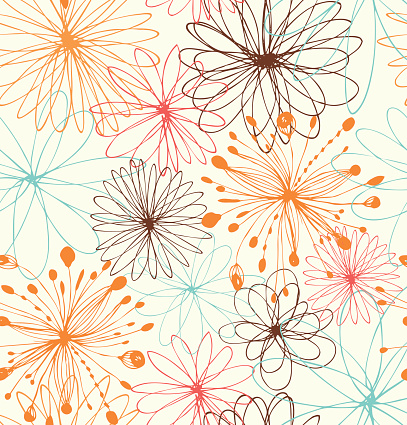 Artistic decorative drawn background with round fantasy shapes