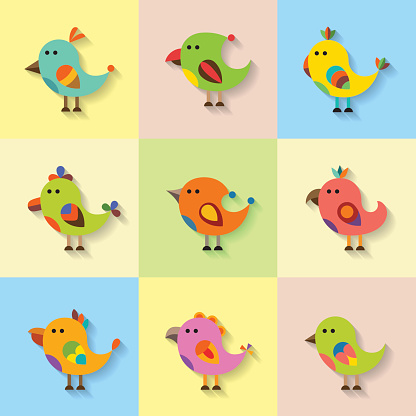 Cute vector birds set in flat style