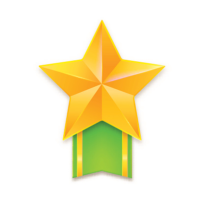 Golden star with ribbon