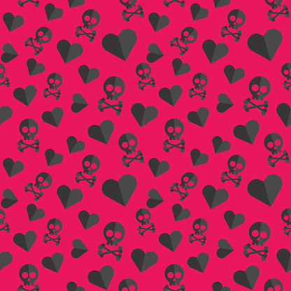 Skulls and hearts seamless pattern on a red background.