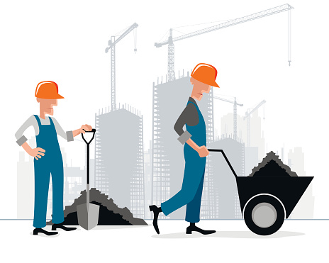 Builders at building site