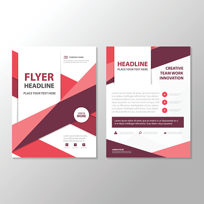 Purple triangle Abstract  Brochure Flyer Leaflet annual report  template design