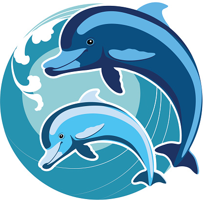 Dolphins amid the waves. A symbol of protection. Feng Shui