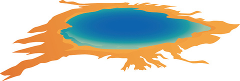 Yellowstone National Park, Grand Prismatic Spring, Wyoming - Illustration