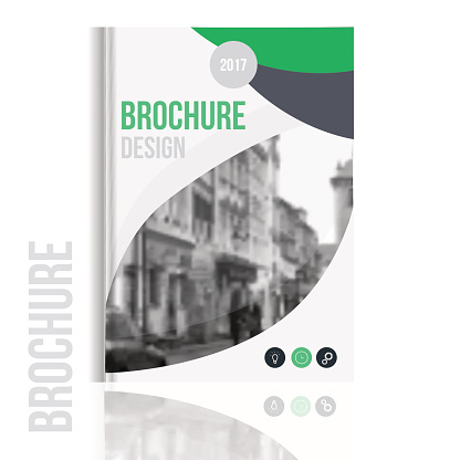 Vector brochure cover template with blured city landscape and lines