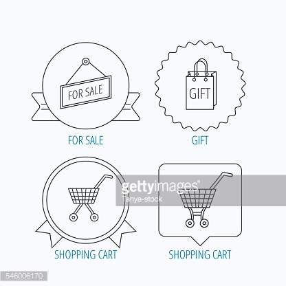 Shopping cart, gift bag and sale icons.