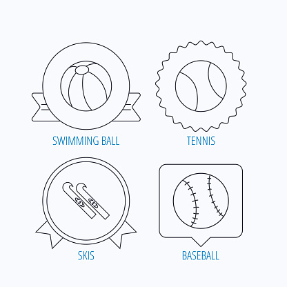 Swimming ball, tennis and baseball icons.
