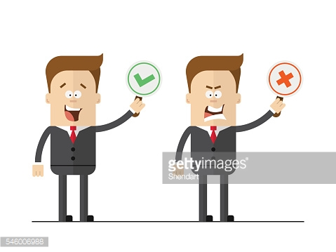 Cartoon office worker holding right and wrong signs. Isolated vector