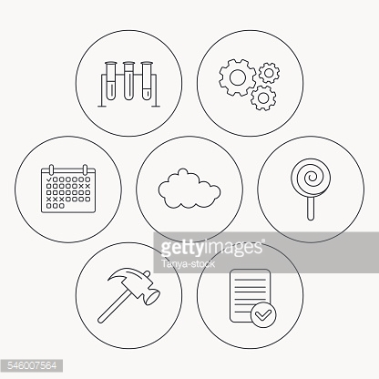 Hammer, lab bulbs and weather cloud icons.