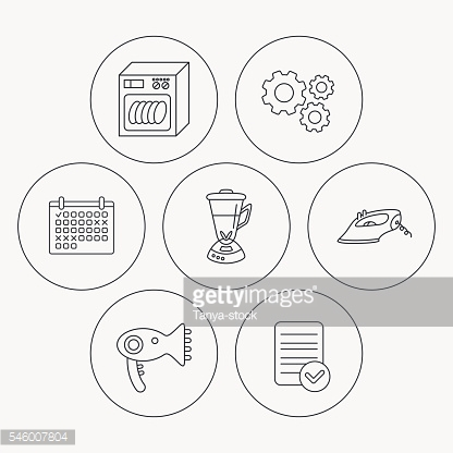 Dishwasher, hairdryer and mixer icons.