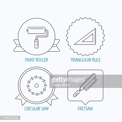 Triangular rule, paint roller and fretsaw icons.