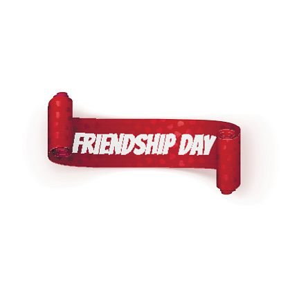 Friendship Day greeting red Ribbon