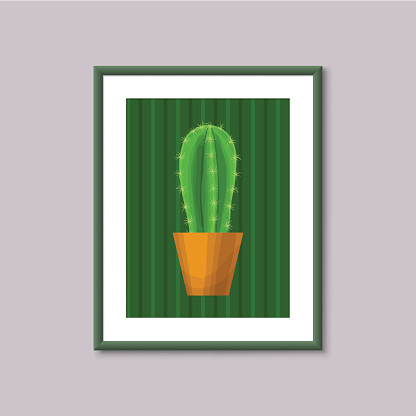 Art painting with Cactus in frame on gray background