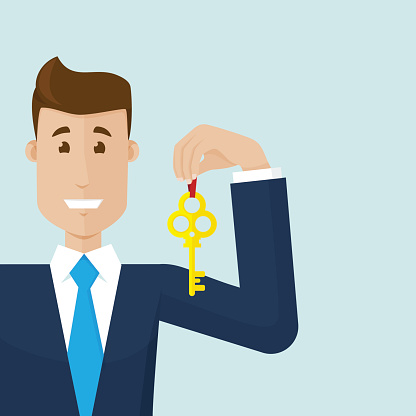 Businessman and the gold key for future