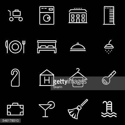 Vector line hotel icon set