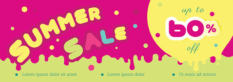 Summer sale horizontal colorful banner.