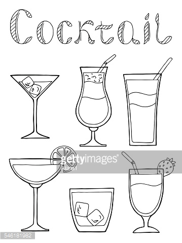 Cocktail glass drink set text graphic black white isolated vector