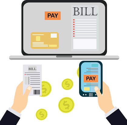Paying bills, hand holding bills vector.Mobile payment concept.