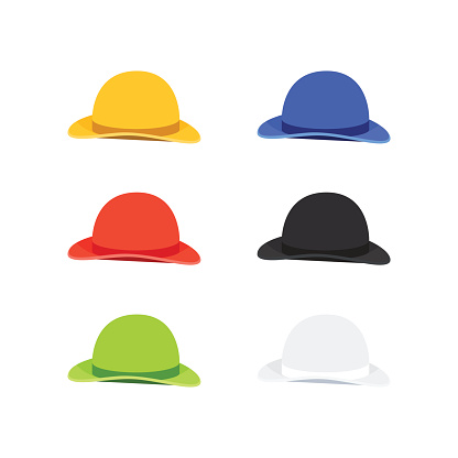Six Colors Bowler or Derby Hat, Flat Style