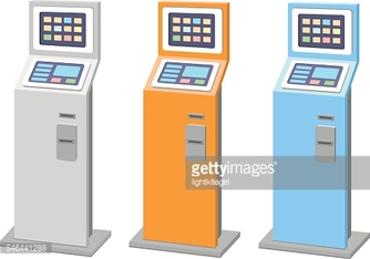 Payment terminals set. isolated stationary kiosk for electronic payments