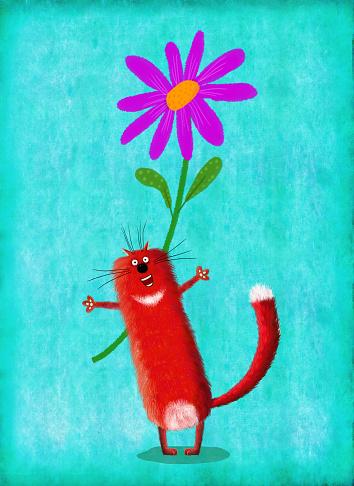 Cat With Open Arms Standing On Blue Background With Flower