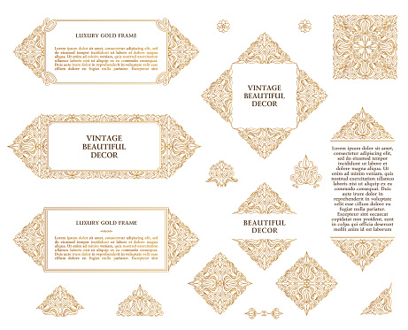 Arabic vector set of frames lines art design templates. Muslim