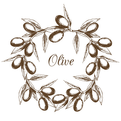 Olive wreath is painted by hand in vintage style.
