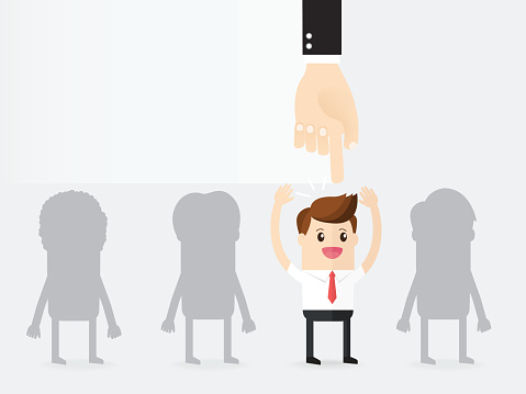 hand of manager  point to candidate for the job