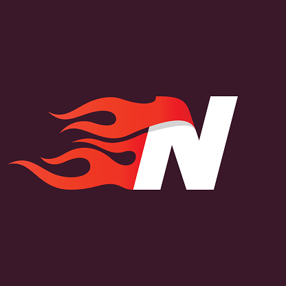 Fast fire letter N icon on dark.