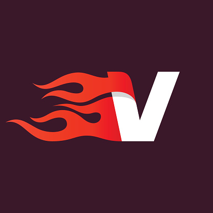 Fast fire letter V icon on dark.