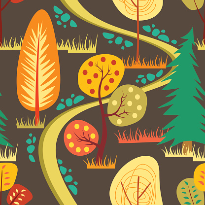 Seamless autumn forest landscape pattern