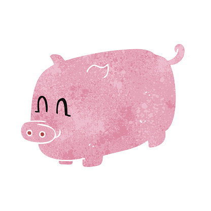 retro cartoon pig