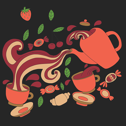 Vector doodle picture of tea, berries and candy