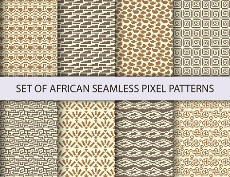 Collection of pixel seamless patterns