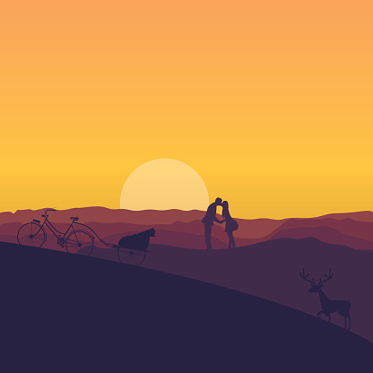 silhouette of couple kissing in sunset dramatic color