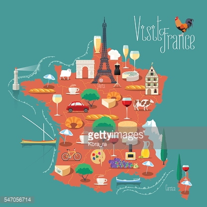 Map of France vector illustration, design. Icons with French symbols
