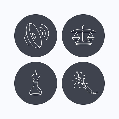 Scales of justice, sound and strategy.