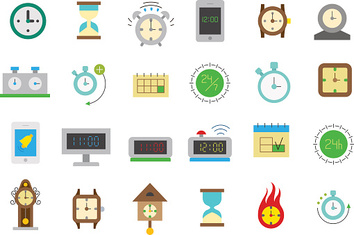 Clocks isolated vector icons set