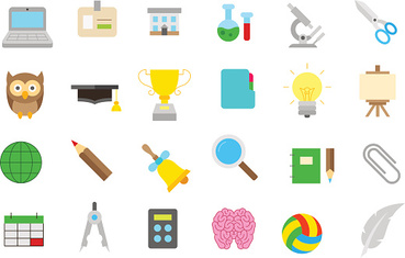 School elements isolated vector icons set