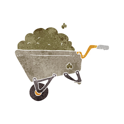 retro cartoon wheelbarrow full of dirt