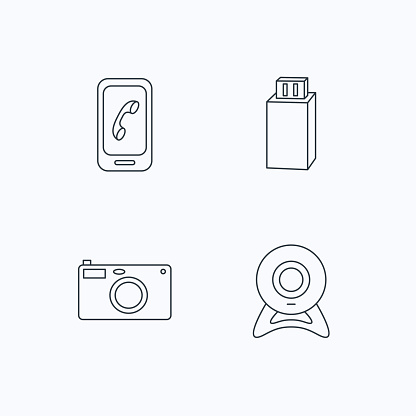 Photo camera, mobile phone and Usb flash icons.