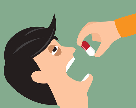 Take your medicine concept. Person puts tablet in mouth. vector