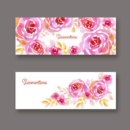 pastel elegant rosy floral on white background. card template.