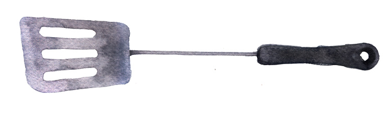 watercolor sketch of the blade pan on a white background