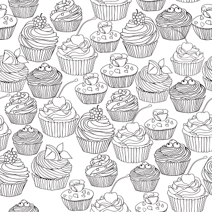 Vector seamless pattern with cupcakes, cute background.