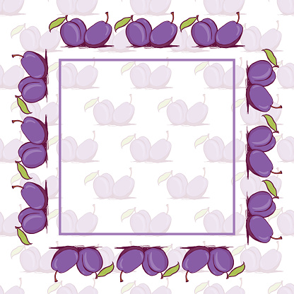 Appetizing plum sketch style vector frame and seamless pattern