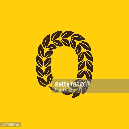 Number zero icon formed by laurel wreath.